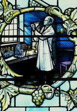 Stained glass effigy of Alexander Fleming, London