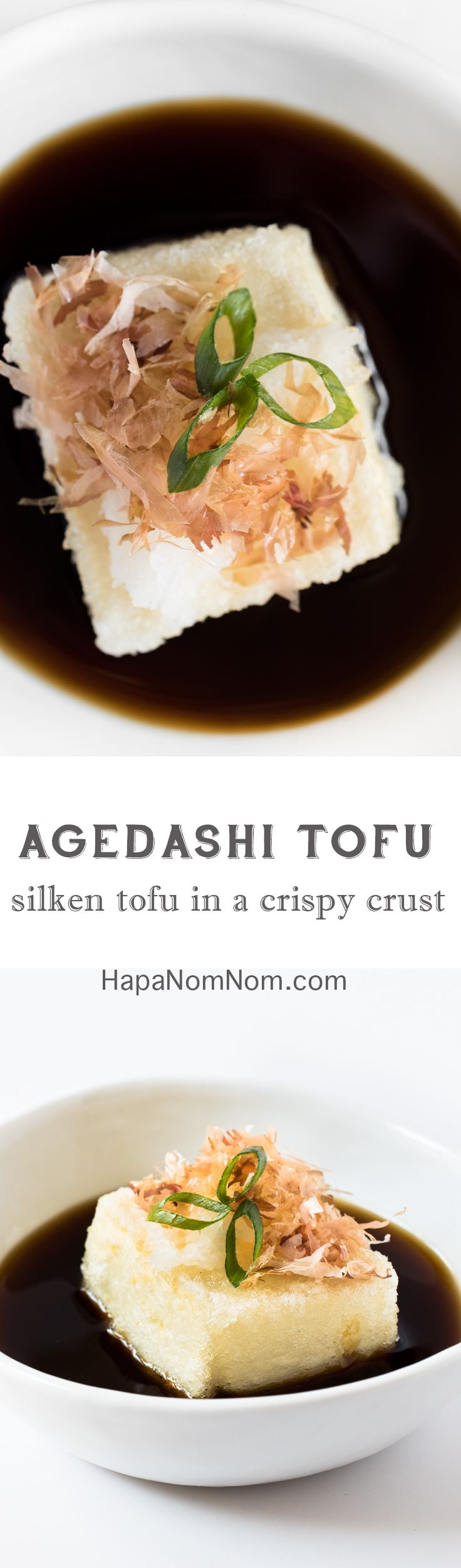 silky tofu encased in a thin, crispy crust and sits in a shallow dashi-based broth. Topped with a little daikon radish, katsuobushi, and sliced scallions -this dish is delicate in flavor and elegant in presentation.