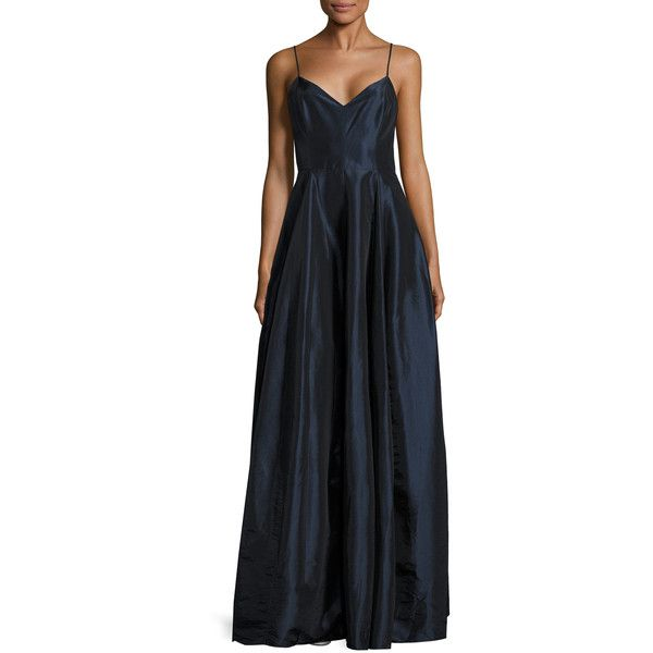 Halston Heritage Women's Spaghetti Strap Pleated Maxi Gown - Dark... ($150) ❤ liked on Polyvore featuring dresses, gowns, navy blue evening gown, navy evening gown, navy blue evening dress, navy gown and halston heritage gown