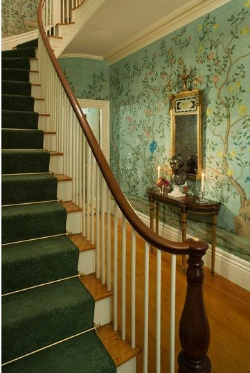 thomas jayne decorates the captain starbuck house in nantucket with fab gracie wallpaper