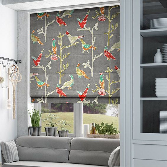 Bright, beautiful and majestic birds stroll the scene of grey upon the Passaro Pewter roman blind to create a lovely vibrant sight of fun and frolics.