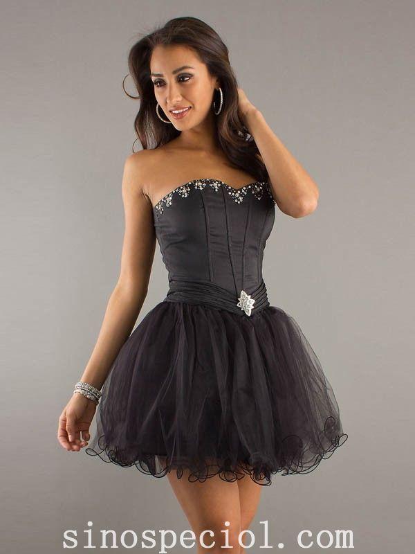 Sweetheart A-Line Sleeveless Short/Mini Tulle Cocktail Dresses