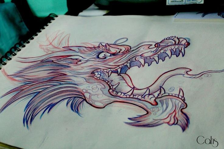 Boceto dragon japones por Bailo