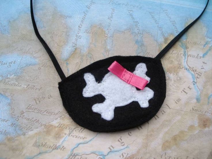 Girl Pirate Eye Patch - made from felt, elastic, and ribbon.  Perfect!