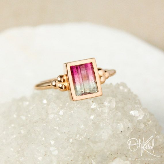 Gold Square Watermelon Tourmaline Ring – Comfort Fit