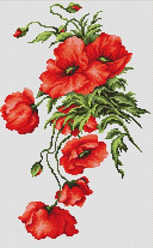 Poppies Cross Stitch Kit By Luca S (one)  One day! Kit