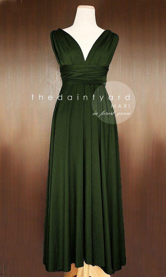 16147220cf MAXI Forest Green Bridesmaid Dress Convertible Dress Infinity Dress  Multiway Dress Wrap Dress Green