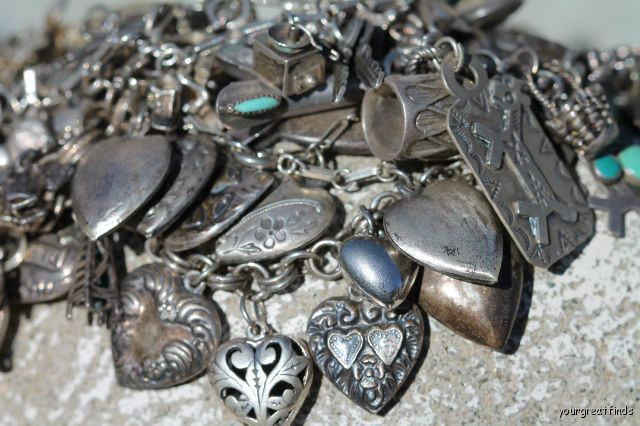 Charm bracelet love.  Yup I love silver charms. Italy has some really great silver pieces so look at the vintage stores for hidden treasures.