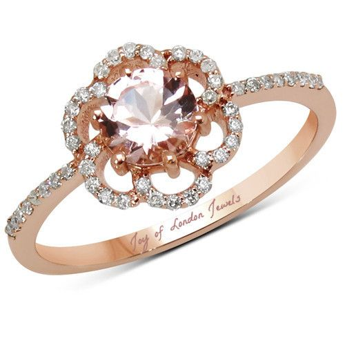 Natural Rose Gold .65CT Round Cut Peach Morganite & White Diamonds Floral Halo Ring