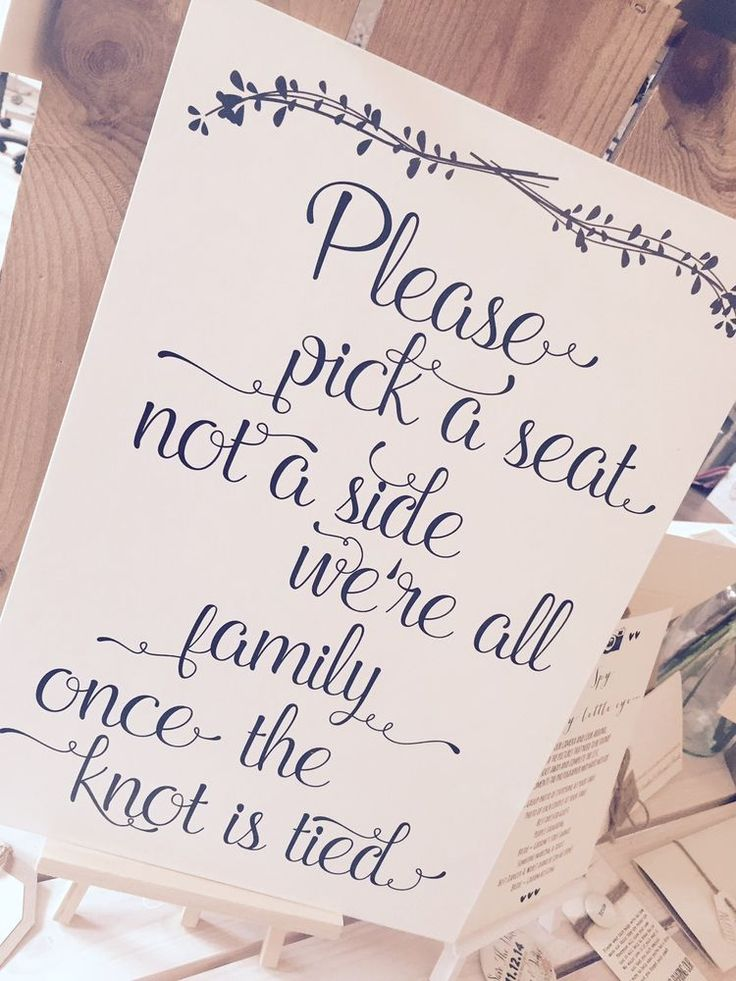 Vintage/Rustic A3 Elegant 'pick a seat, not a side' Wedding/Church/ceremony Sign  | eBay