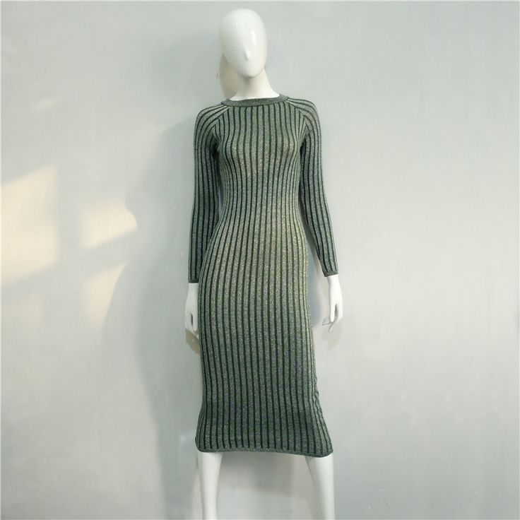 New Knitted Striped Women Winter Dress Long Sleeve O-Neck Ladies Bodycon Dresses High Quality
