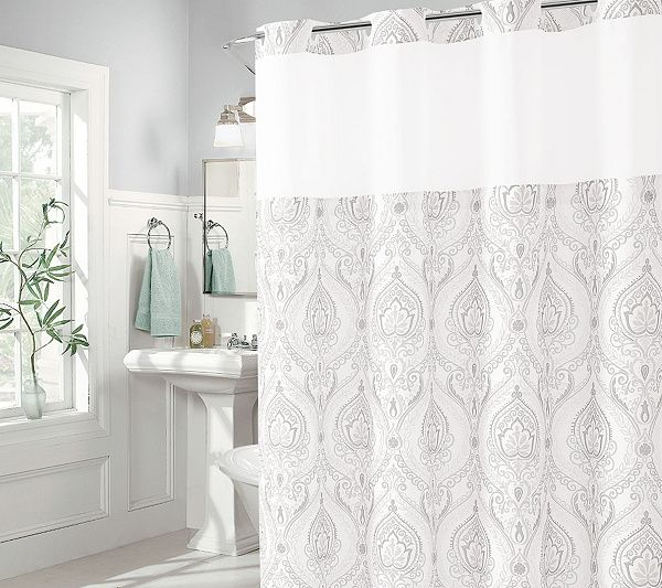 Hookless French Damask Shower Curtain With Built In Liner Qvc Com Curtains Shower Curtain Damask