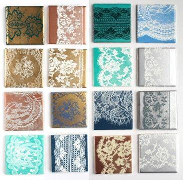 Spray paint through lace onto tiles for unique coasters