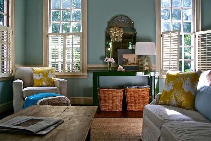 Blue green yellow living rooms pinterest