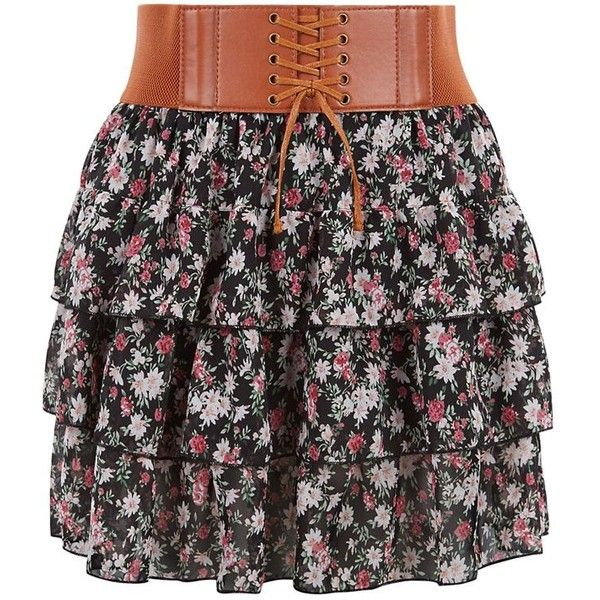 Teens Black Ditsy Floral Rara Skirt (26 CAD) ❤ liked on Polyvore featuring skirts, print skirt, patterned skirt, black print skirt, black elastic waist skirt and belted skirt