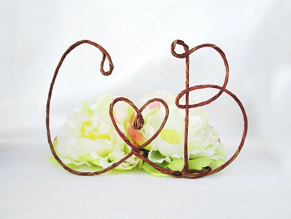 Rustic Cake Topper with Your Initials and HEART Accents, Table Centerpiece with Your Initials, Monogram Cake Topper on Etsy, $26.00