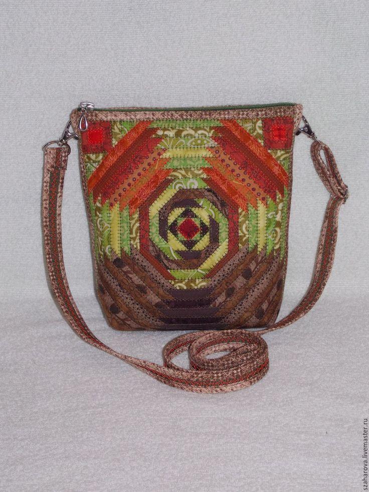 """Купить Лоскутная сумка """"Лесной пейзаж"""", сумка пэчворк, Маленькая, Зеленый,Эко - зеленый"""