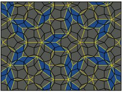 Pentagonal Penrose tiling drawn in black on a coloured rhombus tiling with yellow edges.