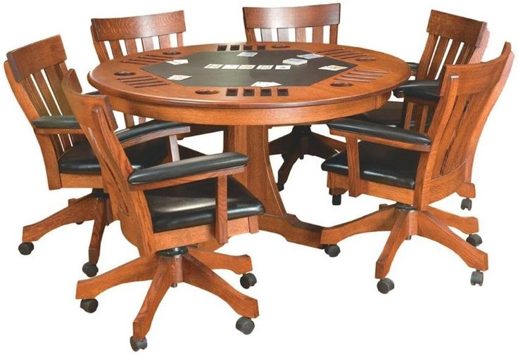 Amish Solid Wood Signature Mission Game Table - This Amish Handcrafted Poker Table is shown in beautiful quarter sawn white oak wood with a Michael's Cherry stain. You also can choose to order this in walnut, oak, cherry, brown maple or hickory wood with a wide variety of finishes. Each player has a cup holder and four rectangular chip slots to stack their chips.