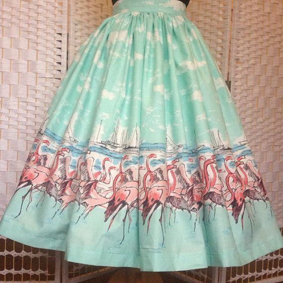 Flamingo full gathered border print, vintage style skirt
