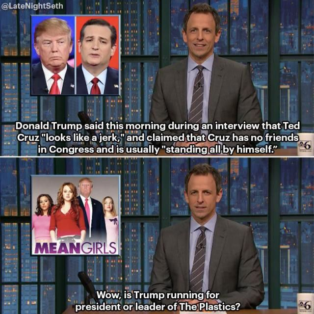 A funny joke by Seth Meyers about Donald Trump.