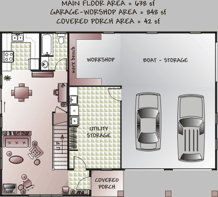 Floorplan with garage apartment second floor plan for for Garage apartment plans canada