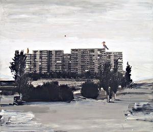 "Juan UGALDE ""Paisaje Luna Roja"", 2002, Técnica Mixta /lienzo, 200 x 230cm. Cortesía de la Galería Moisés Pérez de Albéniz."