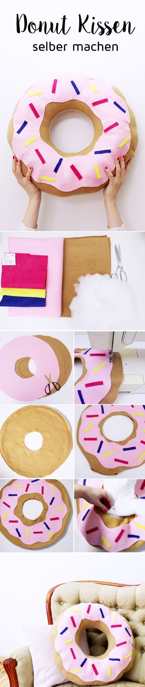 DIY Donut Kissen selber machen: Variante mit und ohne Nähen! – Stephanie
