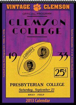 2013 Vintage Clemson Tigers Football Calendar