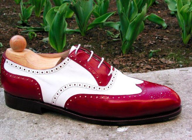 Handmade Men spectator shoes, Men red white shoes Men wingtip brogue dress shoes - Dress/Formal