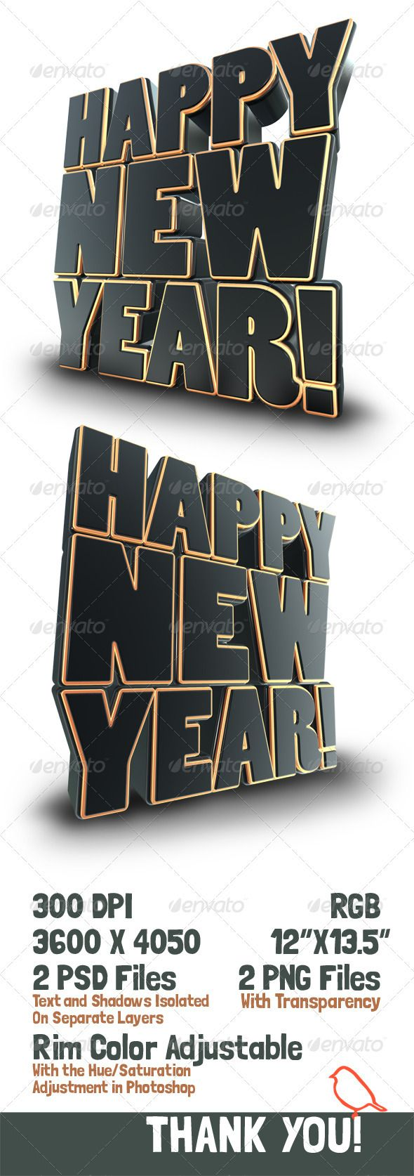 Happy New Year 3D Text Render