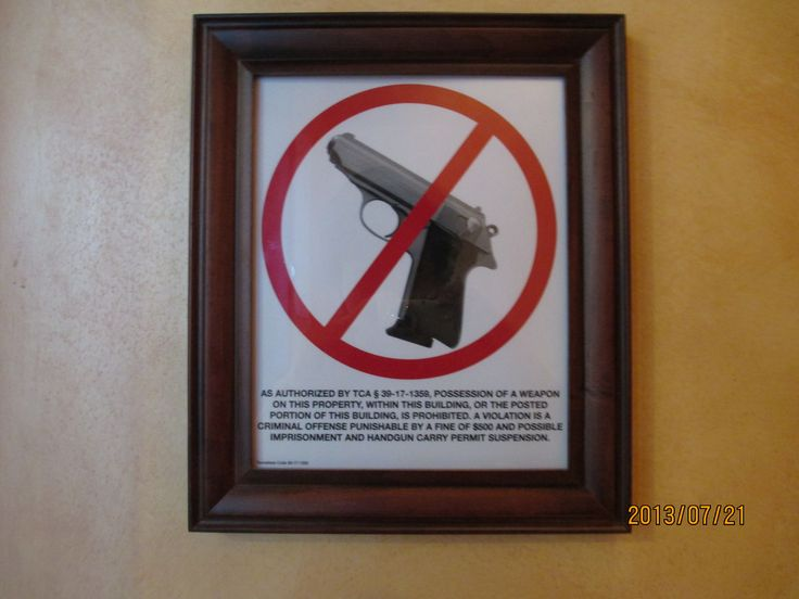 In a restaurant, I noticed this instruction. It's saying that you cannot enter with your gun.