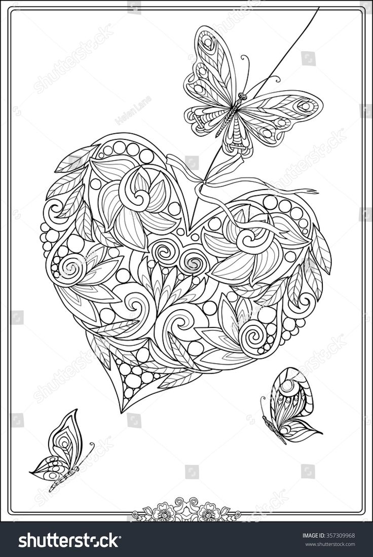 Decorative Love Heart with flowers and butterflies