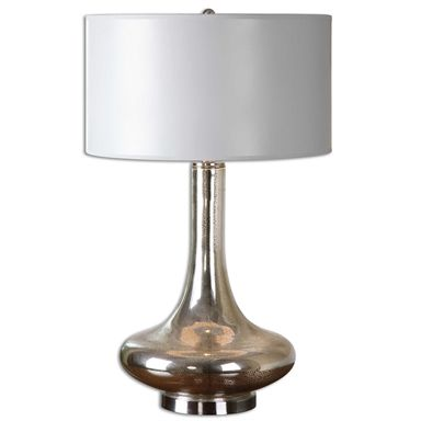 Buy Uttermost Fabricius Mottled Mercury Glass Table Lamp Sale At Zin Home Accented With Brushed Nickel Plated Details