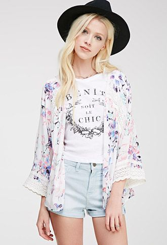 Crochet-Paneled Floral Print Cardigan | FOREVER21 - 2000056791
