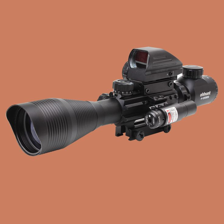 Hunting Airsofts Riflescope 4-12X50EG Tactical Air Gun Red Dot Laser Sight Scope Holographic Optics Rifle Sight Scope