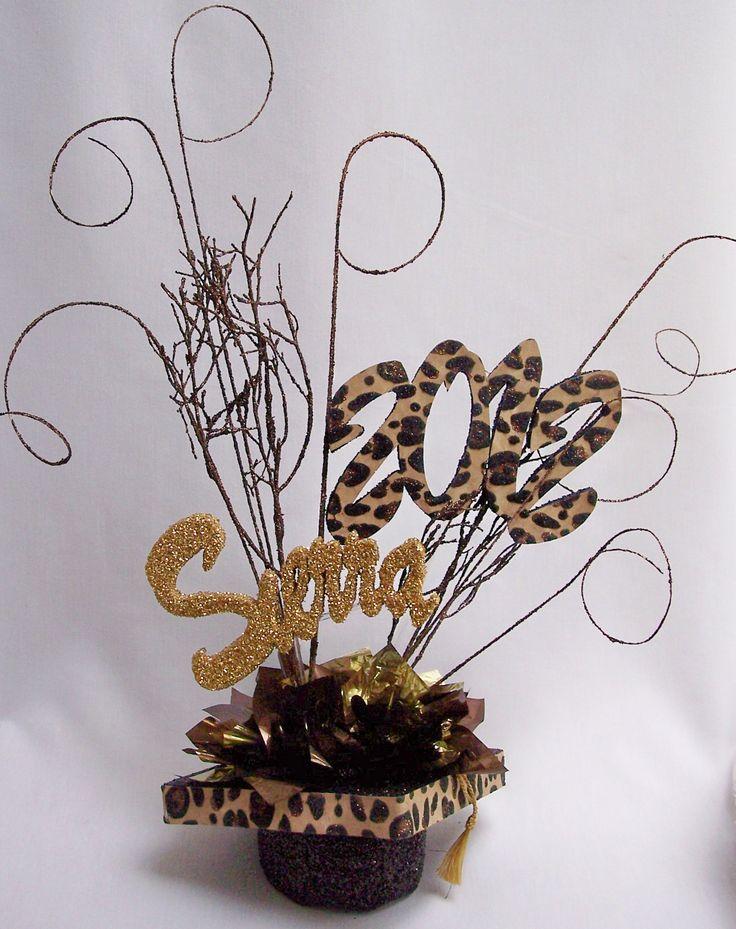 Graduation table centerpieces animal print themed graduation centerpiece www designsbyginny - Cheetah print centerpieces ...