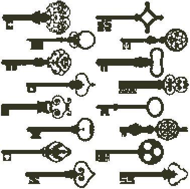Antique Keys Blackwork Easy Cross Stitch Pattern | eBay