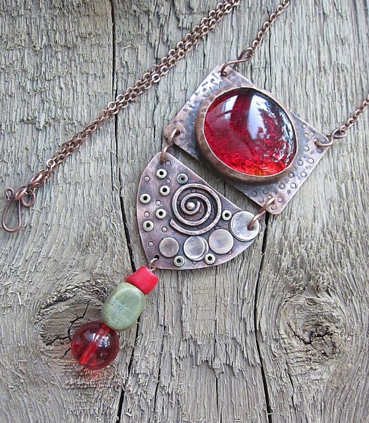 Copper Pendant, Red, Glass Pendant, Coral Pendant, Rustic Pendant, Rustic Jewelry, Boho Jewelry, Boho CopperJewelry by MaryBulanova on Etsy