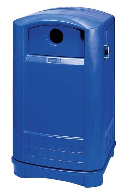 Plaza Bottle and Can Recycling Container: Large container for indoor and outdoor recycling