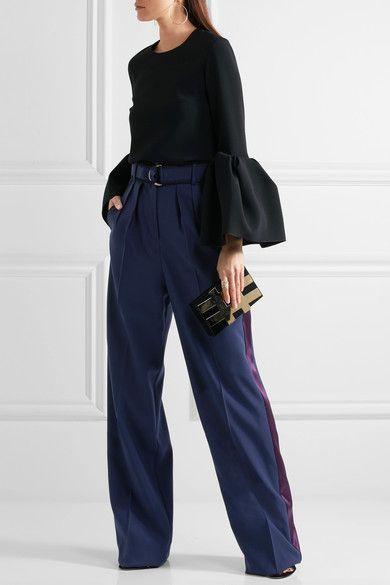 Roksanda - Tillae Satin-trimmed Wool And Silk-blend Wide-leg Pants - Midnight blue - UK