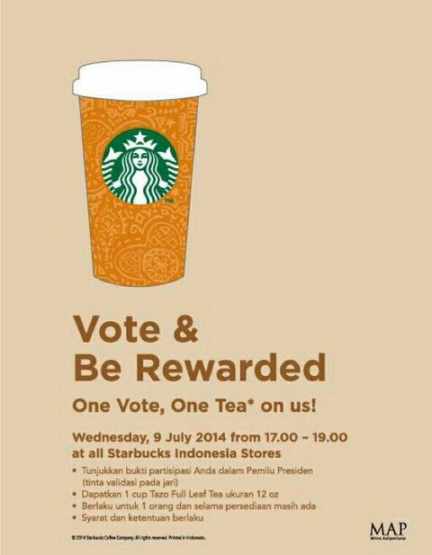 Starbucks Coffee: Vote & Be Rewarded, One Vote One Tea On us @SbuxIndonesia