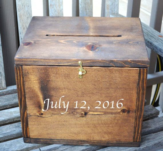 Wooden Wedding Card Box Large Card Box Rustic by EagleCapCreations