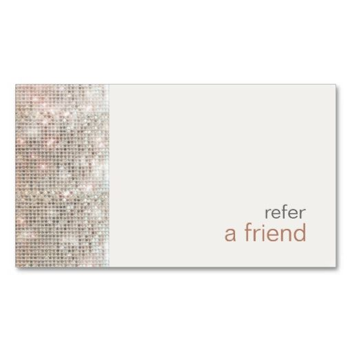 Modern and hip sequins refer a friend coupon salon for Refer a friend business cards