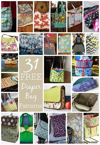 free diaper bag patterns & tutorials.  also includes patterns for change pads