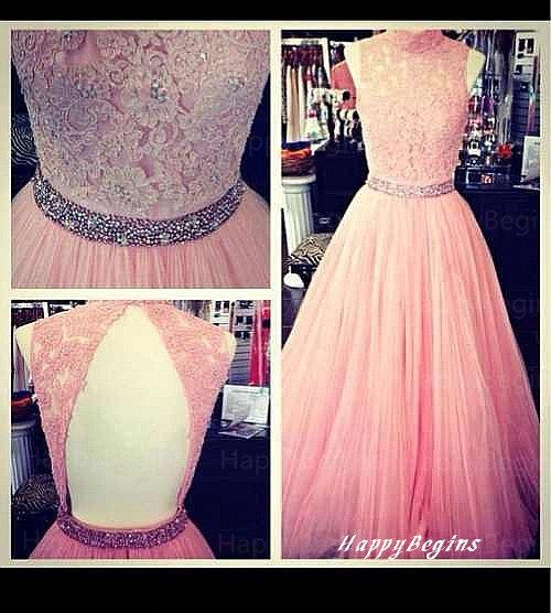 Open back beaded pink lace long prom dress with appliques  2014 on Etsy, $149.00
