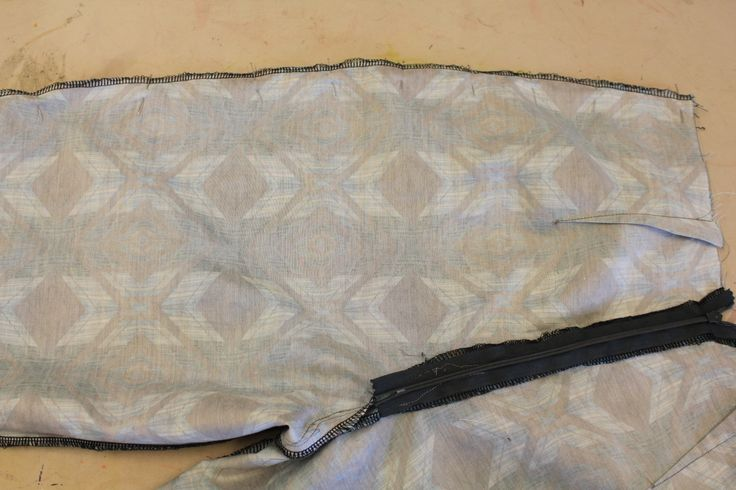 view from inside back - pinning front and back of trousers together at side seams.