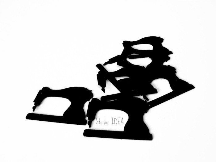 """Black Sewing Machine Cut outs, 1.5"""" or  3""""  Sewing machine Confetti Embellishments- or Choose Your Colors -Set of 50pcs, 100pcs by StudioIdea on Etsy"""