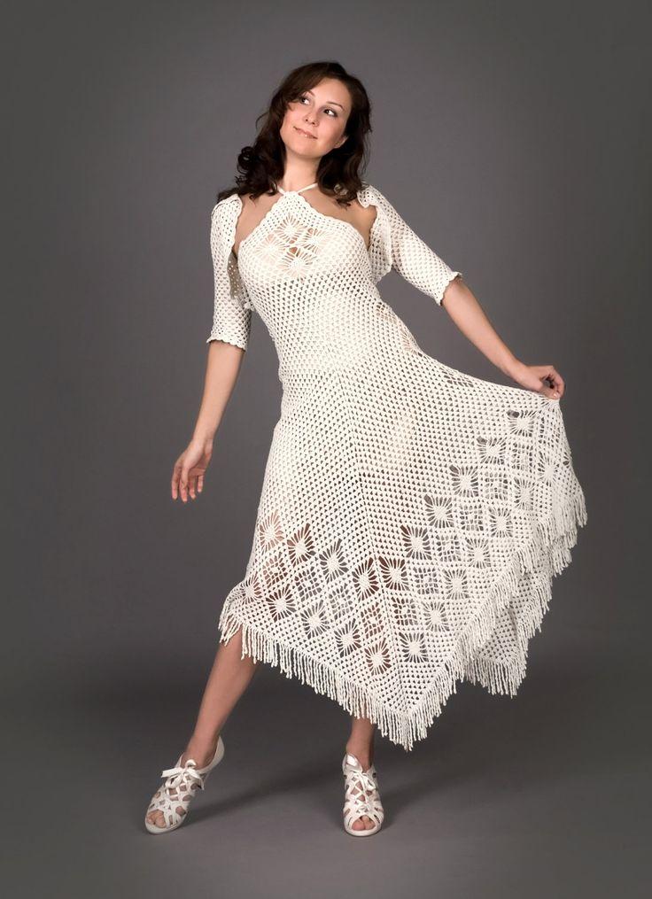59 best crochet women dresses images on pinterest crochet dresses white exclusive crochet dress with crochet bolero by lecrochetart 116000 via etsyga fandeluxe Gallery