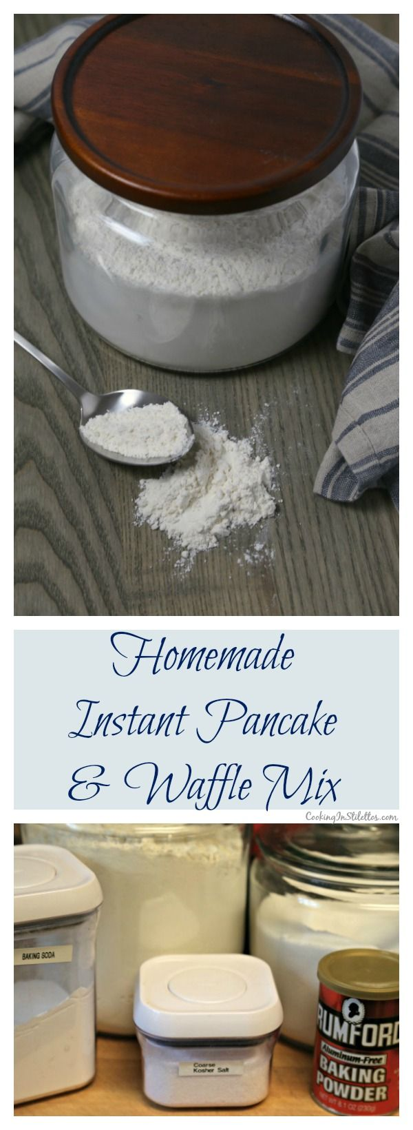 Forget about those store-bought pancake mixes - this easy Homemade Instant Pancake and Waffle Mix from CookingInStilettos.com uses just a few ingredients already in your pantry and couldn't be easier to make.  | Pancake Mix | Waffle Mix | Instant Pancake and Waffle Mix | DIY Baking Mixes | Homemade Baking Mix | Breakfast | Busy Morning Breakfast | Pantry Staple Recipe  via @CookInStilettos